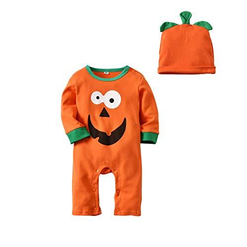 Goyajun Toddler Jumpsuit + Hat Suit - Bébé Romper Enfants Pyjamas Halloween Citrouille Nouveau-Né Vêtements de Nuit Coton Creeper Outfits 1 T - 3 T