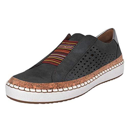 Sportschuhe für Damen/Dorical Frauen Slip on Sneakers, Casual Hohle-Heraus Round Toe Schuhe, Bequeme Sneaker Slipper, Halbschuhe,Sportlich Flats Damenschuhe(Z01-Schwarz,41 EU) -