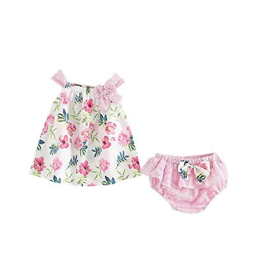 CuteRose Baby Girl Cotton Sleeveless Pattern Lotus Leaf Dress and Panty Set Pink 70 Lotus Flower Dress