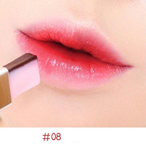 BONYTAIN Double Gradient Lipstick Waterproof Sexy Red Lip Color Lip Gloss Tint Makeup Korean Two Tone Bar Fruit Organic