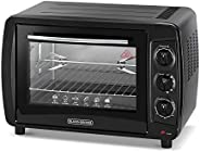 Black+Decker 35L Double Glass Multifunction Toaster Oven with Rotisserie for Toasting/ Baking/ Broiling, Black