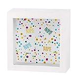 Herz & Heim® Geldgeschenk zum Geburtstag in Form Einer bedruckten Spardose als Bilderrahmen - für Sie erstellt mit Wunschnamen Konfetti