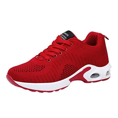 CUTUDE Damen Laufschuhe Atmungsaktiv Turnschuhe Schnürer Anti-Rutsch-Kissen Freizeit Sneakers - Viele Farben 34EU-41EU (Rot, 38 EU)