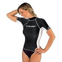 Cressi Women's Rash Guard UV Sun Protection (UPF) 50+ Short Sleeves, Black/White, X-Large/5