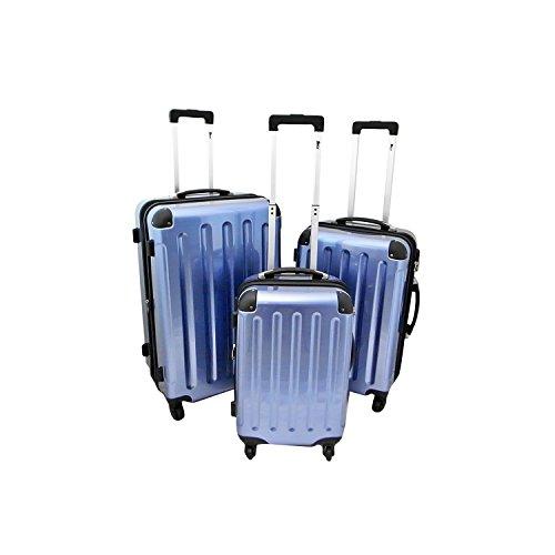 IMEX Hartschalen Koffer Set 3tlg Trolley Gepäck Set (Blau)