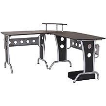 Homcom 2454140031 - mesa de ordenador madera negro 165x145x86cm