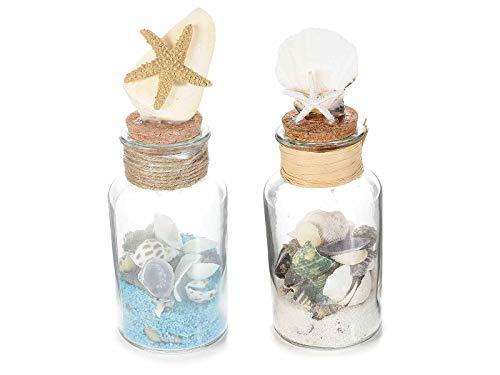 Gruppo maruccia bottiglie in vetro con conchiglie e decorazioni marine bomboniere
