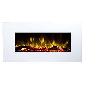 Chimenea Eléctrica Glow Fire Neptun, chimenea de pared eléctrica (1500W calefactor, LED de colores de iluminación; Cristal, regulador de intensidad, mando a distancia), color blanco