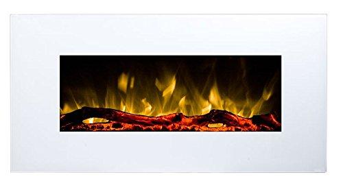 Elektrokamin Glow Fire Neptun, Wandkamin elektrisch (1500 Watt Heizlüfter, Farbige LED-Beleuchtung; Glasscheibe, Dimmer, Fernbedienung) weiß (Flammen mit Holzdekoration)