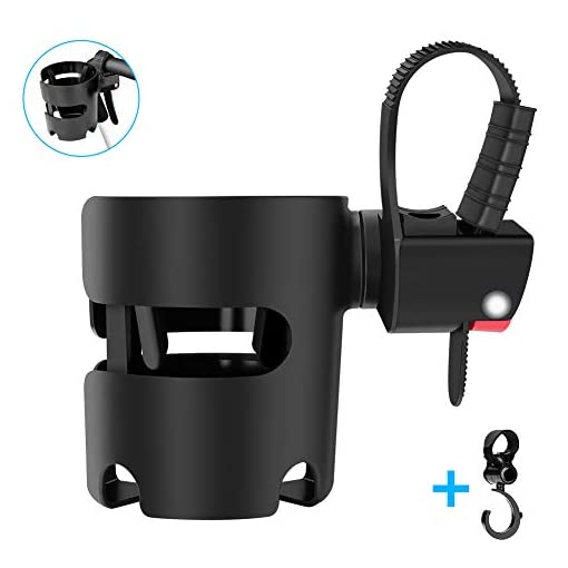 Eletorot Stroller Cup Holder, Universal Pushchair/Pram Cup Holder,ABS Adjustable Bottle Organizer for Stroller, Drink and Coffee Cup Holder with 1 Hooks, Suitable for Baby Buggy and Bike (Black)