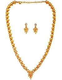Touchstone Hollywood Glamour Pretty Artistic Slimline White Crystals Designer Necklace Set In Gold Tone For Women