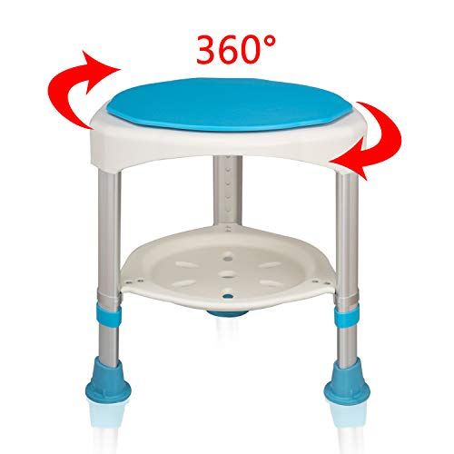 HENGMEI 360° Drehbarer Duschhocker Duschstuhl Badehocker Höhenverstellbar Duschhilfe Duschsitz Badsitz mit Saugnäpfen ( Modell B)