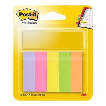 Post-it 670-5 Haftstreifen Page Marker schmal, 15 x 50 mm, neonfarben, 5x100 Blatt