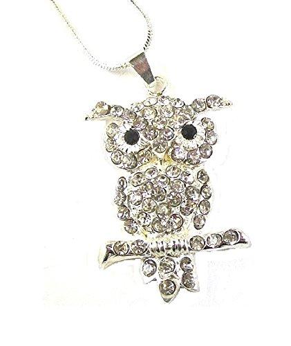 Eule, Vogel Kristall, Diamant, Kostüm, Costume Jewellery Halskette mit Anhänger, Geschenkbox (Teenage Kostüm Schmuck)