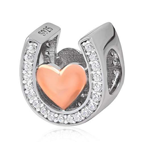 Roségold Hufeisen-Charm 925 Sterling Silber Liebe Charms klare Steine Stern Charm Jahrestag Charm für Pandora Charm-Armband (Stern Charm Für Pandora Armband)