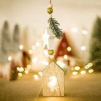 Redstrong Navidad , Decoraciones de Navidad Adornos Colgantes de Madera creativos con luz Árbol de Navidad Colgante Suministros de Vacaciones