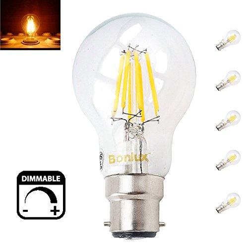 Bonlux 5-Pack-8W B22 GLS LED Dimmbare Klassische Glühlampe Warm White 2700K A19 A60 BC Bajonett LED Edison-Birne 75W Glühlampe Equivalent 5-Pack-8W B22 GLS LED Dimmbare Klassische Glühlampe Warm White 2700K A19 A60 BC Bajonett LED Edison-Birne 75W Glühlampe Equivalent -