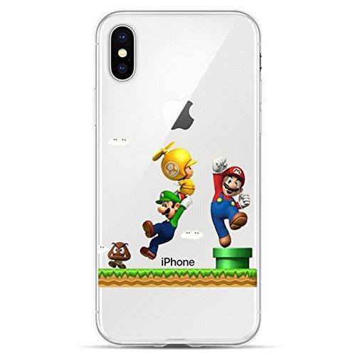 JAMMYLIZARD Silikonhülle für iPhone X und XS | Transpatente Hülle mit Motiv [Sketch Backcover] Durchsichtige Slim Case Schutzhülle aus Silikon, Mario Brüder