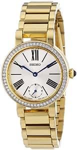 Seiko - SRK028P1 - Quartz - Montre Femme - Quartz Analogique - Cadran Blanc - Bracelet Acier plaqué Doré