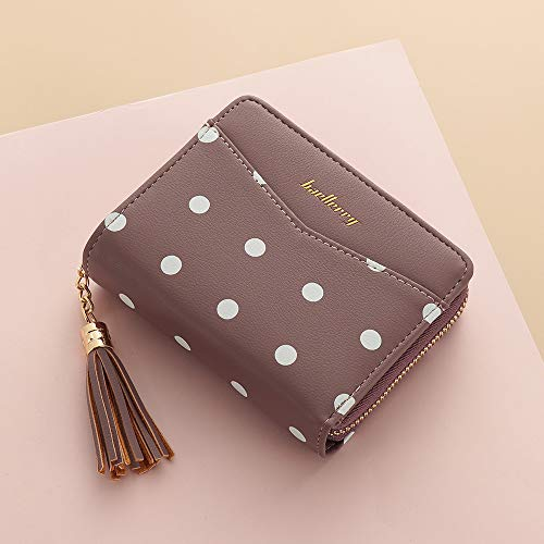Women Party Clutch Phone/Card Holder Coin Purse Handbag Dots Print Leather Small Wallet Tassel Zipper Short Bifold Wallets -