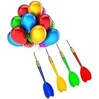 24 piezas de dardos (globos de dardos) de plástico con punta de acero para fiesta y carnaval