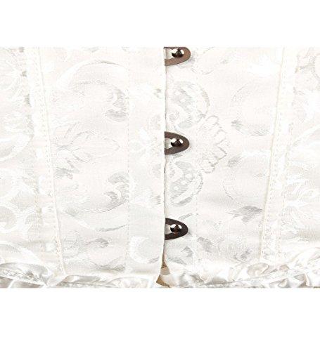 FStory Retro Korsett Corsagen Vollbrust Palast Corsage Taillen Top Hochzeit Bustiers Corset Cincher Shaper Damen, Farbe Weiß, Size EU 44(2XL) - 5