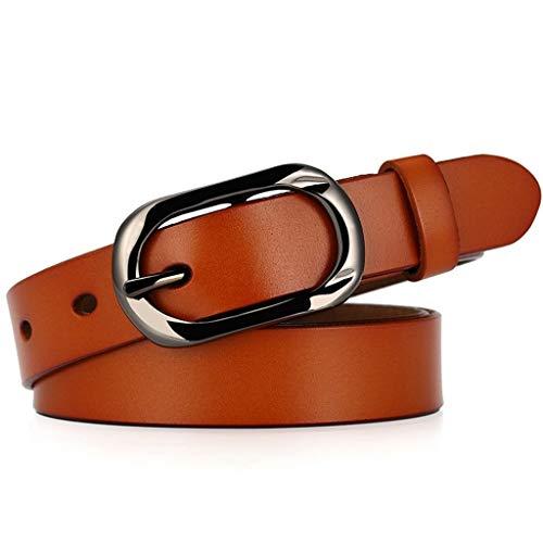 LLUFFY-Belt Gürtel der Leder damen Lässiger dünner Gürtel aus neuer japanischer Wortschnalle mit Dornschließe, 110cm, braun
