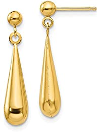 14ct Yellow Gold Hollow Polished Post Earrings Tear Drop Dangle Earrings - Measures 21x4mm