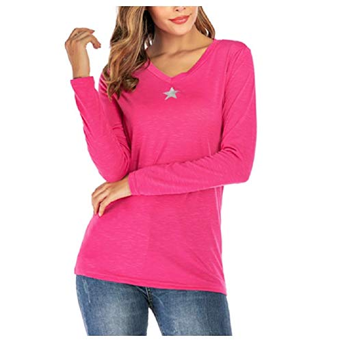 CuteRose Women's Basic V Neck Long Sleeve Classic T-Shirt Pullover Tunic Tops Pink M Thermal Line