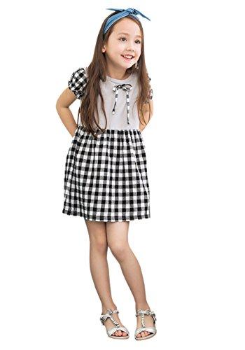 ACVIP Kinder Gitter Kurze Arme mit Schleife Dekoration Mädchen Kleid (7-8Y)