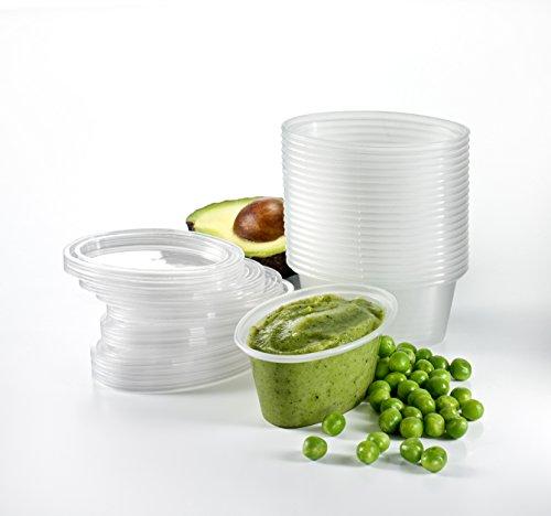 Mummy Cooks - 20 contenitori 90ml in plastica riutilizzabili senza Bisfinolo A (BPA) per refrigerare cibo per bambini/ vasetti per svezzamento