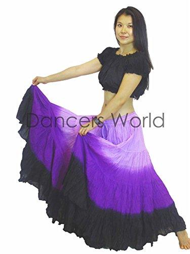 Tänzer Welt 2pc 25Yard Baumwolle Rock für Tribal Gypsy Bauchtanz Röcke ATS Black Lilac Purple
