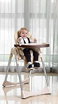 Vélu Baby Child Highchair Feeding Chair Soft Comfortable Leather Fully Adjustable Parts Beige from Velu