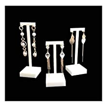 Premium Grade White Acrylic Display Stands For Jewellery Trade Show Exhibition Photograph Store (3PC Earrings Stands)