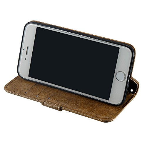 Coque iPhone 7, iPhone 7 Coque Portefeuille, SainCat Ultra Slim Flip Cover pour iPhone 7, Bookstyle Etui en PU Cuir Coque Etui Cuir Anti-Scratch Cover Coque Cuir Coque Caoutchouc Étui Portefeuille Cas Marron #1