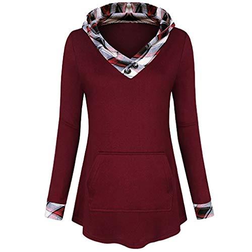 Tianwlio Damen Winter Langarmshirt Hoodie Pullover Mode Karierter Hoodie Langarm Tunika Sweatshirt Pullover Shirt Top Bluse Weinrot M