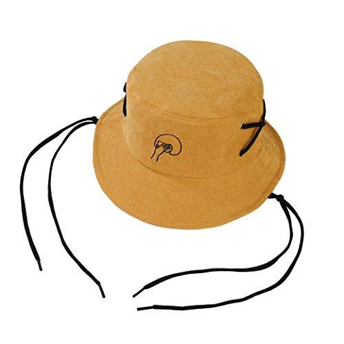Imagen de sombrero del pescador algodón plegable bucket hat al aire libre visera para senderismo camping y playa 56 58 cm amarillo