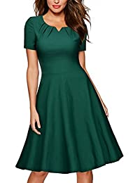 MIUSOL Damen Vintage 50er Kleid Knielang Ballkleid Rockabilly Cocktail Abendkleid