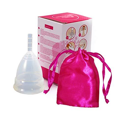 Sanfte faltbare Silikon-Menstruationstasse BPA-frei verwendbare hypoallergene Tampons mit Aufbewahrungstasche – Durchsichtig