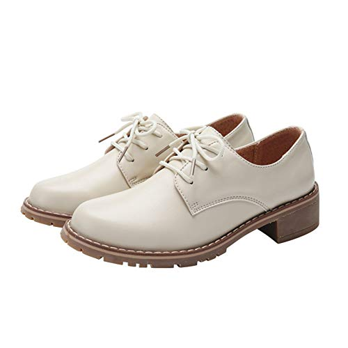 Yililay Blockabsatz Oxfords Frauen Leder Low Heel-Schuhe schnüren Sich Oben Vintage-Stiefeletten Low Top Damen Schnürschuh (Heels Low Oxford Für Frauen)