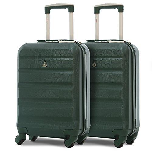 Aerolite Set de 2 ABS Bagage Cabine à Main Valise Rigide Léger 4 roulettes (2 X Vert foncé)