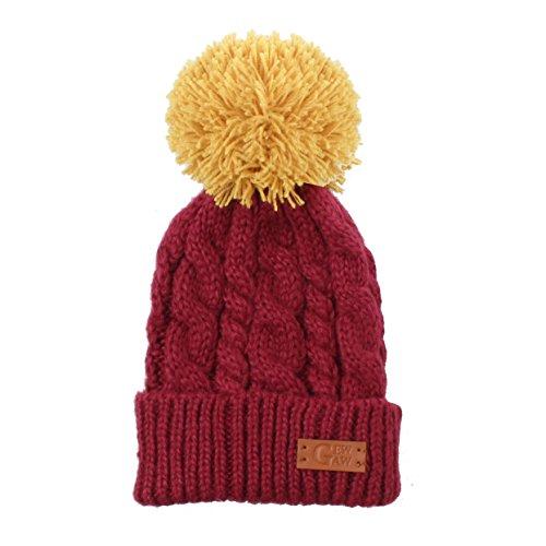Accessoryo - unisex Gew Gaw Wein Farbe Zopfmuster Luxus fühlen Mütze Hut mit kontrastierenden gelben Bommel (Pudel Wein)