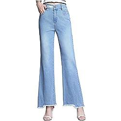 GZYD Jean Large Femme Taille Haute Pantalon Droit Coupe Slim Abdomen irrégulier Pantalon Micro Corne Mode Sauvage Jeans Stretch,XXXXL
