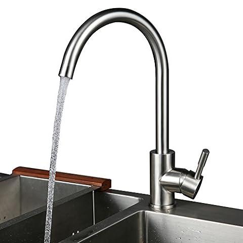 Kinse Wasser 30% Sparen Gebürstet Silber Küchearmatur Mischbatterie Spültischarmatur 360°Drehbar aus Edelstahl SUS304 mit ABS Bubbler für Küche Waschbecken