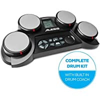 Alesis CompactKit 4 | Ultra-portable Electronic 4-Pad Tabletop Drum Kit with Velocity-Sensitive Drum Pads, 70 Sounds, Coaching Feature, Game Functions, Battery- or AC-Power and Drum Sticks Included