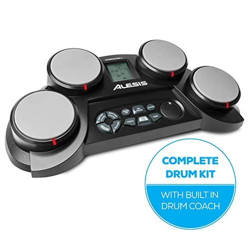 Alesis CompactKit 4 - Batería Electrónica de Sobremesa de 4 Pads Sensibles a la Velocidad, 70 Sonidos, Función de Entrenamiento y de Juego y Baquetas Incluidas