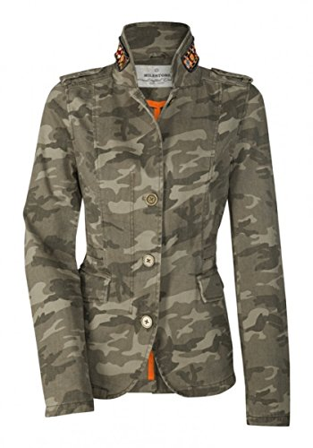 MILESTONE Damen Military-Jacke Blazer-Jacke Camouflage Optik mit Bunten Zierperlen Tailliert Grün Gr. 34-42 (38)