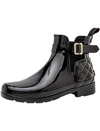 Hunter Original Refined Gloss Quilt Chelsea Black WFS1032RGL BLK, botas de agua color negro