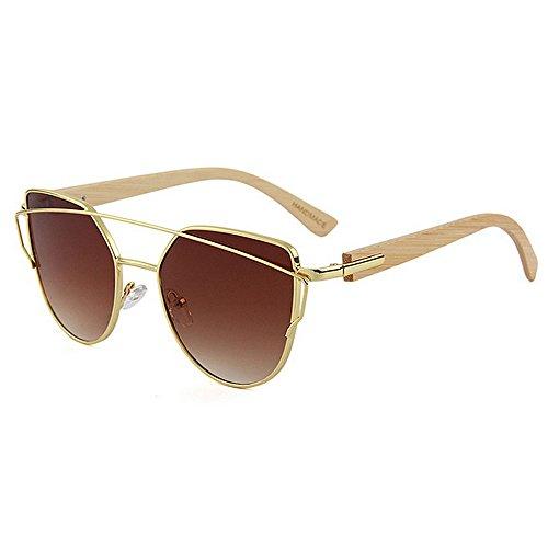 Yiph-Sunglass Sonnenbrillen Mode Persönlichkeit Metallrahmen Bambusbein Unisex-Sonnenbrille Farbige Linse UV-Schutz Handwerk für Männer Frauen (Farbe : Braun)