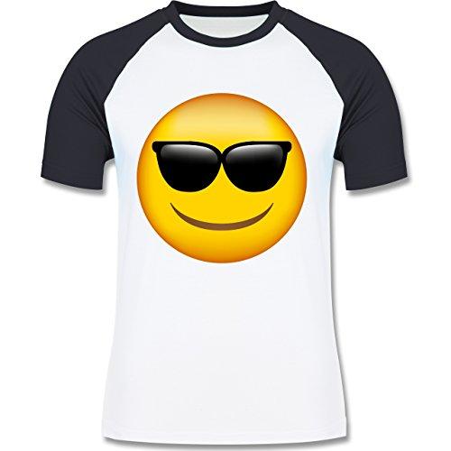 Shirtracer Comic Shirts - Emoji Sonnenbrille - Herren Baseball Shirt Weiß/Navy Blau